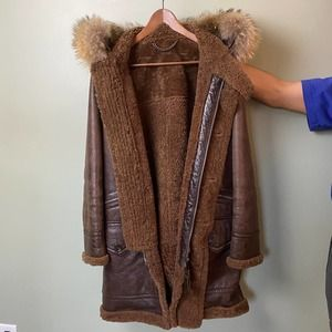 Leather Shearling Hooded Coat/Parka